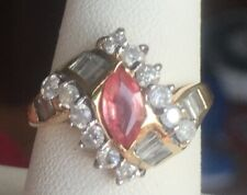 1.32ct Padparadscha Sapphire Diamond ring! 14 KT YG. Size 7.25. Gorgeous!