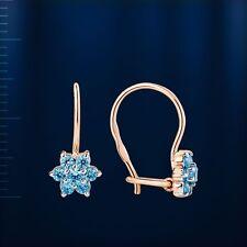 Russische Rose Rotgold 585  Kinder-Ohrringe mit blaue CZ. Hakenverschluss.