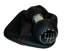 SCHALTKNAUF Alu + SCHALTMANSCHETTE passend für Audi A3 S3 8P   5-Gang - Naht Rot