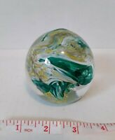 Art Glass Blown Glass Random Bubbles Paperweight Green Tan Yellow Bubbles