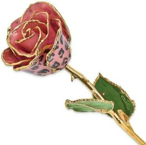 Lacquer Dipped Gold-Tone Trim Pink & Black Leopard Rose