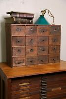 Antique Apothecary Cabinet 16 Drawer wood hardware storage organizer jewelry box