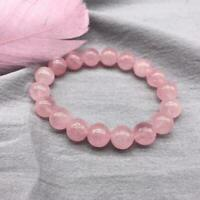 Natürlicher Rosenquarz Stein Perlen Armband Onyx Reiki Chakra Geschenk NEU A7N7