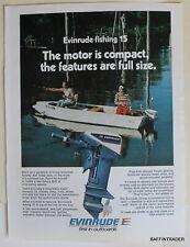 Evinrude Fishing 15 Outboard Magazine Print Ad 1975 8 x 11