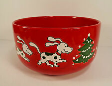 Waechtersbach Dogs Bones Bowl Large Christmas Tree 7 inches Red Germany Rare