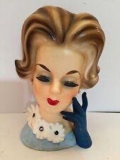 """Vintage Lady Head Vase 7"""" Napcoware C6429"""