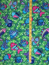 New listing sewing fabric 1 7/8 yards colorful fish green blue pink cotton Aquatic Ocean