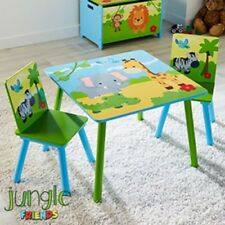 Wooden Table & 2 Chairs Set With The Theme Of Jungle Friends Ideal For Kids