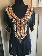 $1250 Cavalli Embellished Beaded Silk Blouse Top Shirt size S