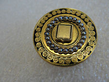 Victorian Etruscan 10k Gold Brooch Pin Pendant with seed pearls and enamel