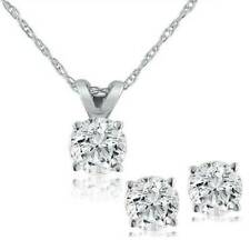 Pompeii3 Diamond Solitaire Necklace & Studs Earrings Set 1/2 Carat (ctw) 14k Whi