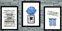 Set of 3 Wall Art Prints Dressing Room Bedroom Salon Poster Watercolour Blue