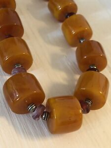 Berber Amber High Quality Long Necklace, Coral, Topaz And Moroccan Silver. New