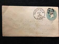 1874-86 ERA WESTFIELD, MASS. POSTAL COVER+FANCY CANCEL+SCOTTS# U163 WASHINGTON!