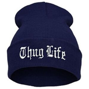 """""""Thug Life""""  EMBROIDERED CUFFED BEANIE NAVY BLUE/ WHITE SKULL CAP Free Shipping"""