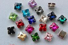 36pcs 12mm sew on glass rhinestone bead square crystal gem DIY dress making