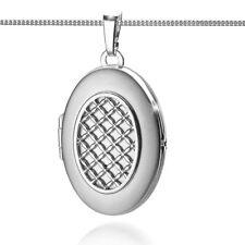 Foto Medaillon Kette Anhänger oval 2 Bilder Amulett zum öffnen Echt Silber 925