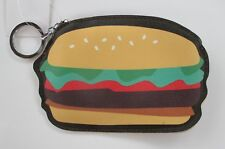 Hamburger Fun Food COIN PURSE mini wallet KEY CHAIN ring Ganz Vegan leather