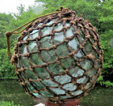 "Japanese Glass Fishing Float 4-4.5"" Oil Netted Aqua RARE SIZE Ocean Survivor Vtg"