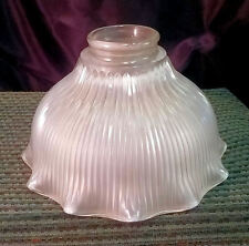 "7"" Victorian Light Fixture Shade ~ 2"" Mount Ring ~ Frosted ~ Ribbed ~ Ruffled"