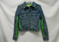 Vintage Pepe Jeans London Spell Out Jean Jacket Women's M Green Trim/Stitching