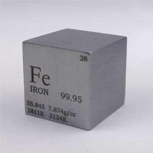 Iron Metal Density Cube 25.4mm 99.95% 128g for Element Collection