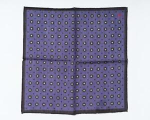 "Isaia NWT Purple Brown Dot Pattern Pocket Square Wool Silk Blend 13"" 33 cm"