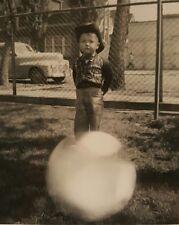 VINTAGE HALLOWEEN COWBOY COSTUME MAGIC BALL ODDITY VERNACULAR PHOTOGRAPHY PHOTO