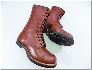 WW2 US Army Paratrooper Boots High Quality 100% Leather Jump Shoes - TOP Repro