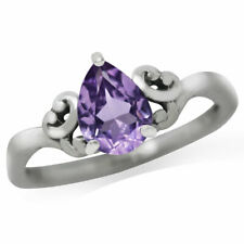 Natural Amethyst 925 Sterling Silver Solitaire Ring SZ 8