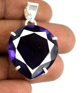 925 Sterling Silver Pendant 42.20 Ct Pear Cut Violet Amethyst Certified K5737