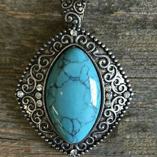 Western Cowgirl Jewelry Antique Silver Faux Turquoise/Crystals Pendant