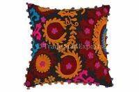 Embroidery Vintage Suzani Pom Pom Cushion Cover Boho Pillows Throw Pillow Cases