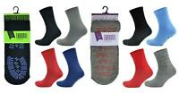 4 Pairs Ladies or Mens Thermal Non Slip Grip Slipper Lounge Bed Socks Mix Colour