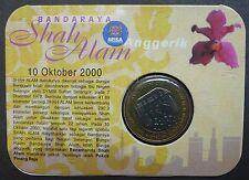 MALAYSIA SHAH ALAM CITY 2000 RM1 COMMEMORATIVE BU COIN CARD