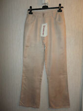 BNWT Size 10 Beige Straight Leg Velvet Feel Trousers By Kaleidoscope RRP £45