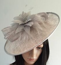 NIGEL RAYMENT SILVER GREY WEDDING HAT DISC FASCINATOR MOTHER OF THE BRIDE