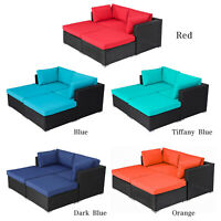 4 PCs Outdoor Patio Furniture Set Wicker Sofa Ottoman Chairs Black Rattan
