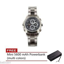 Stainless DVR Fashion Watch with Spy Camera 4GB (Silver)FREE 5600 mAh Mini Power