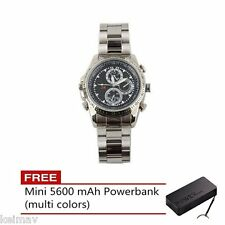 Stainless DVR Fashion Watch with Spy Camera 4GB (Silver)FREE 5600 mAh Mini Power