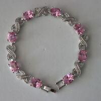"Beautiful Fashion Pink Sapphire 18K White Gold Plated Gp Bracelet 17Gr 7""5 Long"