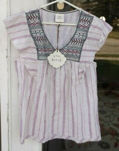 Knox Rose sz L Tunic Top Blouse Embroidered Oatmeal Red Stripe New $28 Target*01