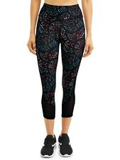 Avia Women's Active Capri Legging with Powermesh Hem, Black Soot/ Speckle Dot, M