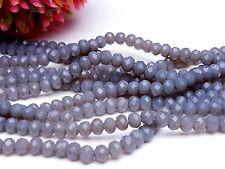 145 Glas schliff facettierte Perlen Rondelle Abakus Spacer Stahl grau 3*4 mm