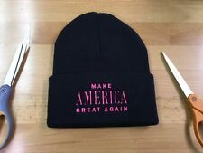 MAKE AMERICA GREAT AGAIN, TRUMP 2016 Beanie NEON PINK Embroidery Design