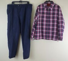 Catalina Womens Full Zip Plaid Windbreaker Rain Weather Jacket Pants Sz XL
