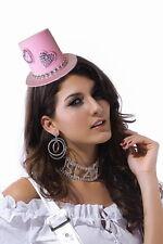 Pink Fascinator Heart Rhinestone Valentine's Day Top Hat Hair Piece 70358
