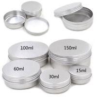 New Aluminium Empty Cosmetic Pot Jar Tin Container Silver Box Screw Lid PE 2016