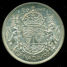 1937 Canada, King George VI, Silver Fifty Cent Piece   F158