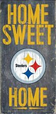 """PITTSBURGH STEELERS HOME SWEET HOME WOOD SIGN and ROPE 12"""" X 6""""  NFL MAN CAVE!"""